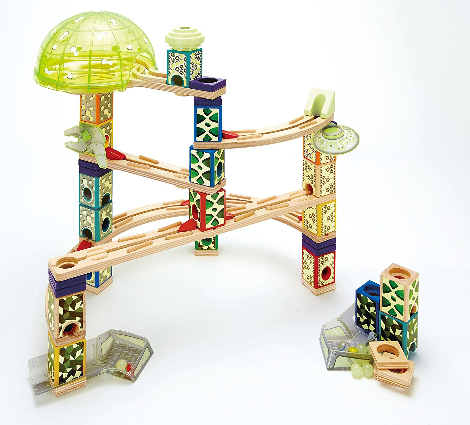 Space City Wooden Glow in the Dark Marble Run